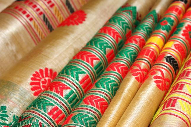 Buy Fabindia Natural Silk Muga Fitted Long Kurta Online in ...