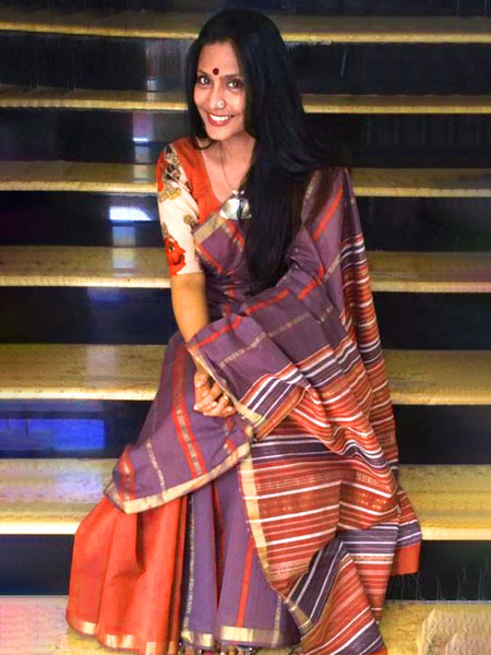 Organic cotton saree with kalamkari blouse