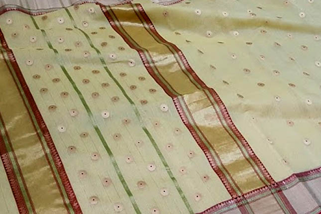 Pista Chanderi saree
