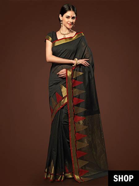 Black Chanderi saree