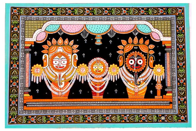 Pattachitra painting of Jagannath Puri deities