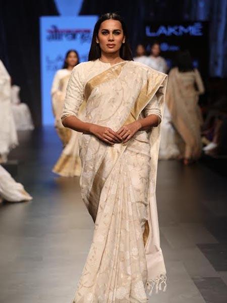 designer saree neutrals