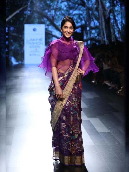designer saree sheer and zari
