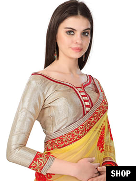 Golden zari blouse with broad neck