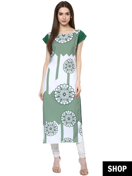 Green digital print kurti under 599