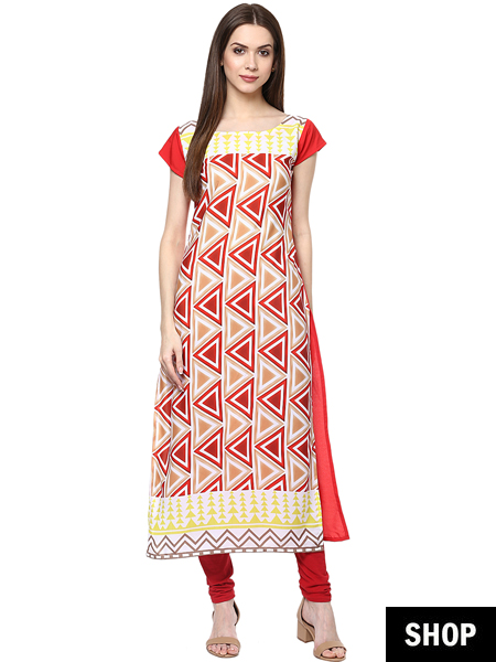 Beige and red printed kurti under 599