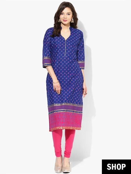 Blue block print kurti under 599