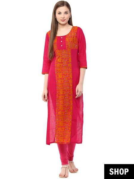 Printed pink kurti under 599