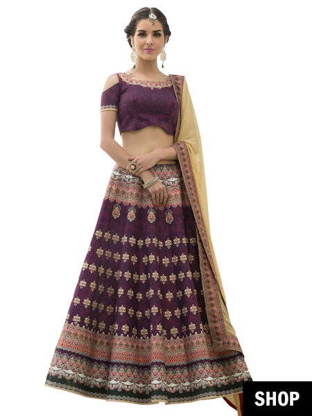 Purple printed lehenga