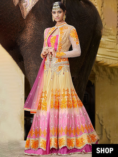Pink net lehenga with jacket blouse