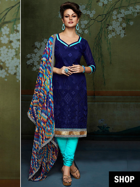 Deep blue Chanderi salwar suit