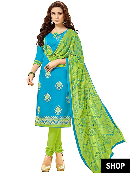 Blue and green dress material
