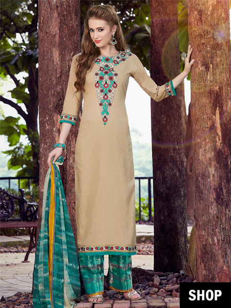 Beige and green dress material