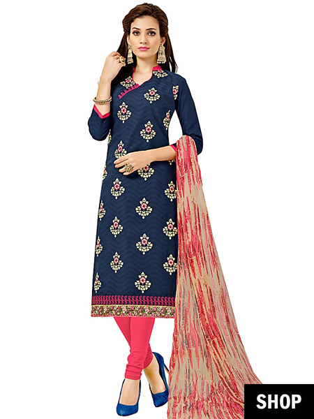 Blue cotton salwar suit
