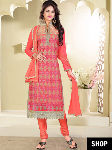 Peach pink salwar suit