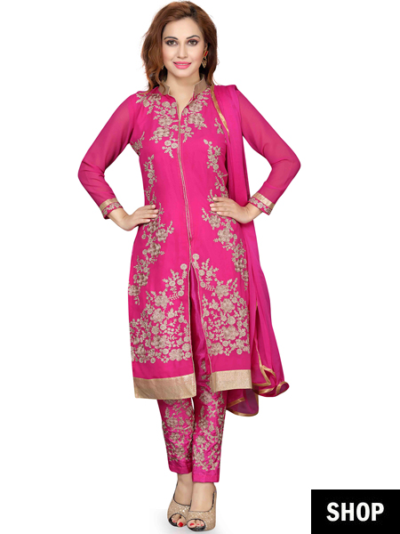 Pink silk salwar suit