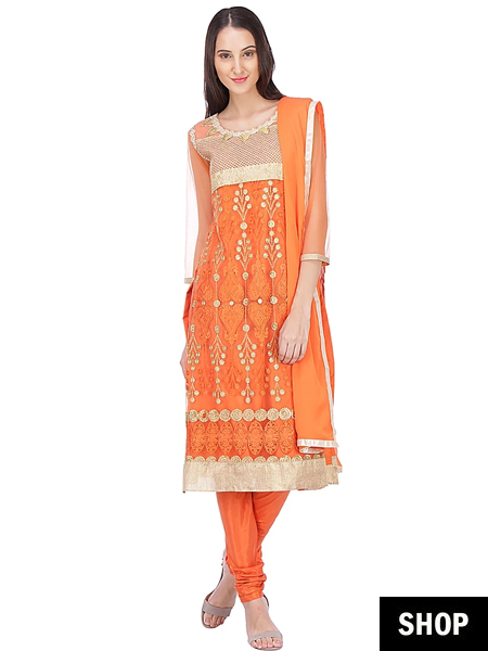 Orange georgette salwar suit