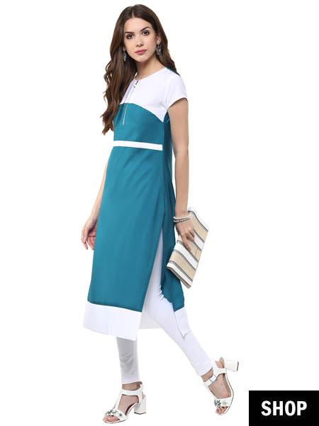 Blue and white kurti
