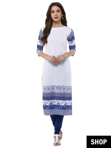 White printed kurti