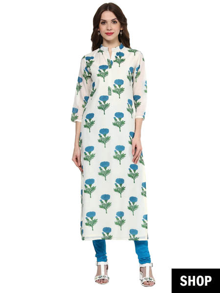 Floral kurti with Chinese collar