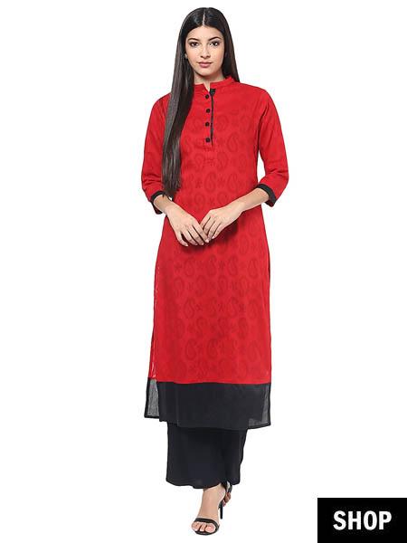 Red kurti with mandarin collar
