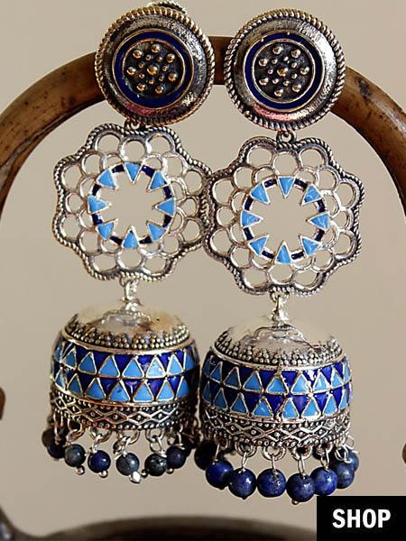 Jhumki with silver enamel