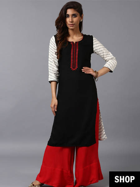 Black and white kurti