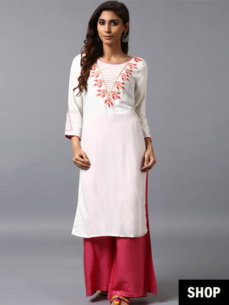 Embroidered white rayon kurti