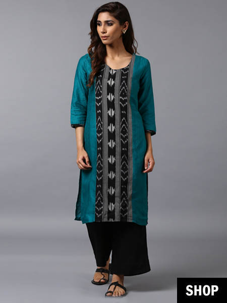Ikat weave green kurti
