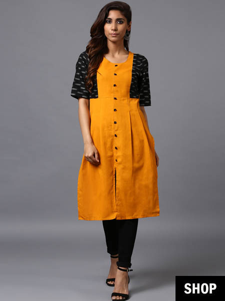 Ikat weave yellow and black kurti