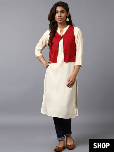White kurta with red jacket