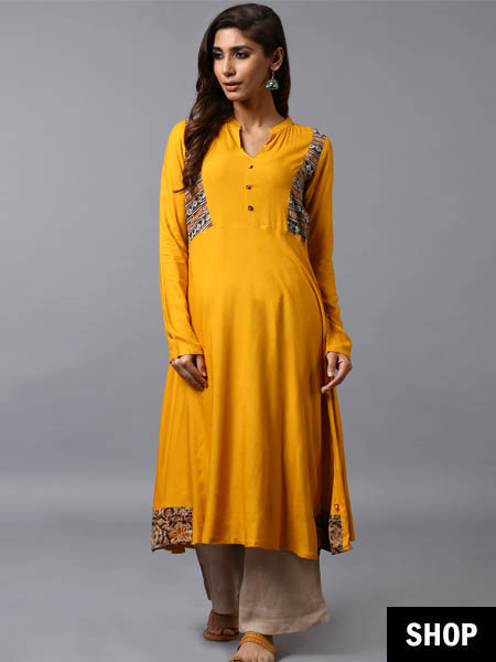 Yellow Kalamkari kurta