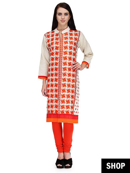 Embroidered khadi kurti