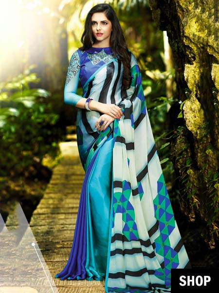 Blue Satin Saree