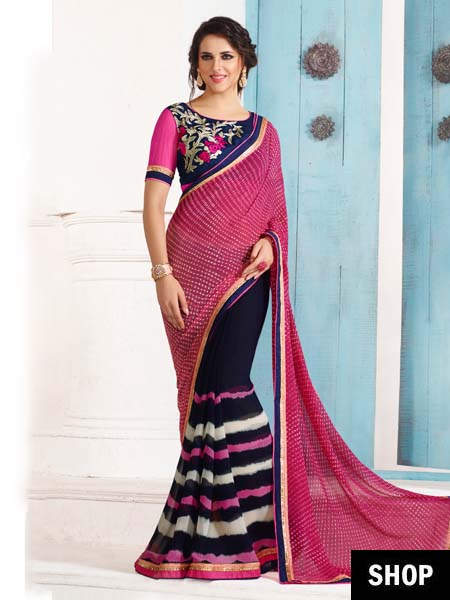 Pink & navy blue georgette saree