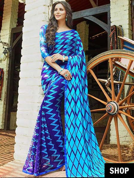 Printed blue georgette saree