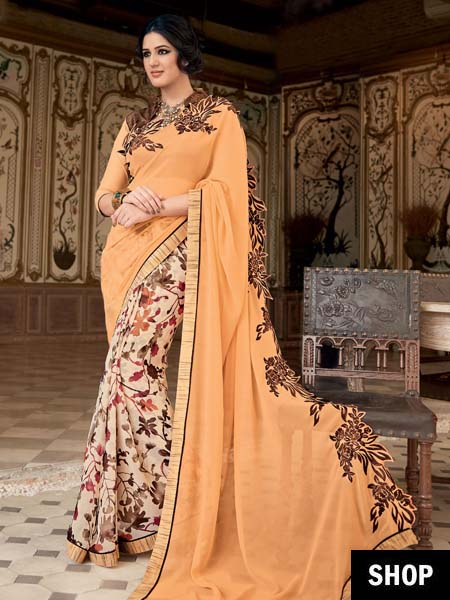 Peach floral georgette saree