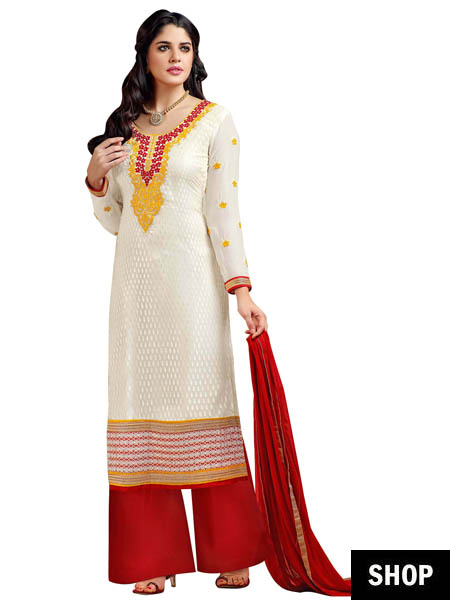 Red & white palazzo suit
