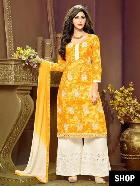 Yellow palazzo suit