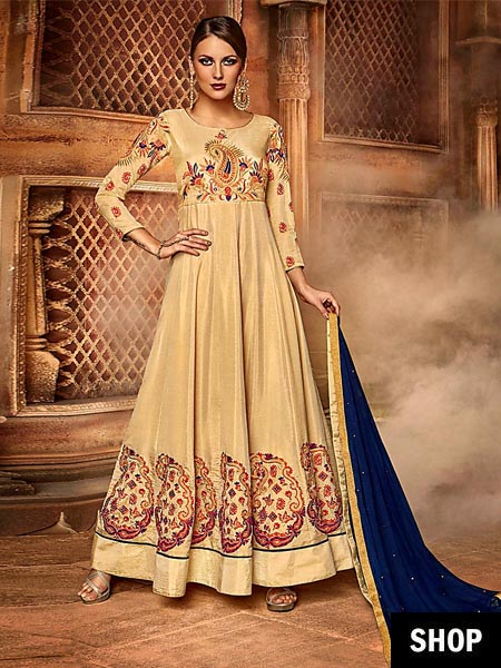 Embroidered Beige Anarkali
