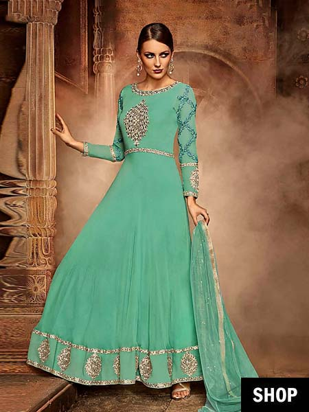 Embroidered Green Anarkali 2