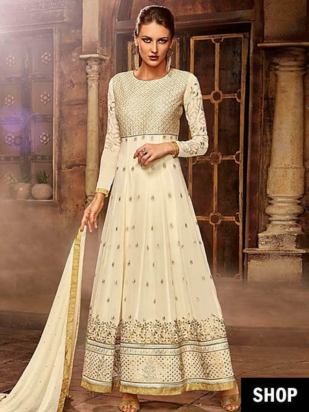 Embroidered off-white Anarkali