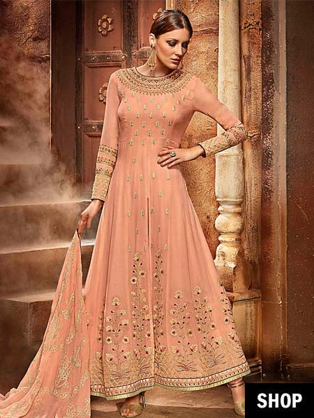Embroidered Peach Anarkali