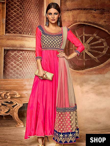Pink And Navy Blue Semi-stitched Anarkali