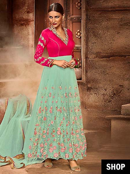 Sea green and pink semi-stitched anarkali