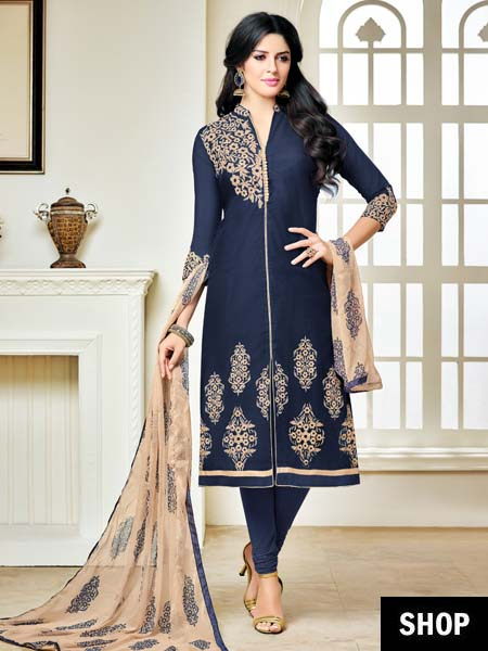 Navy blue embroidered party wear suit