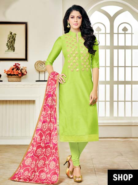Pastel green embroidered suit