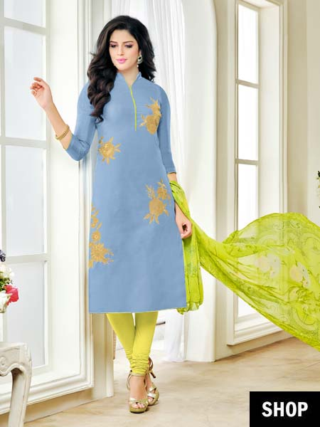 Sky blue embroidered suit