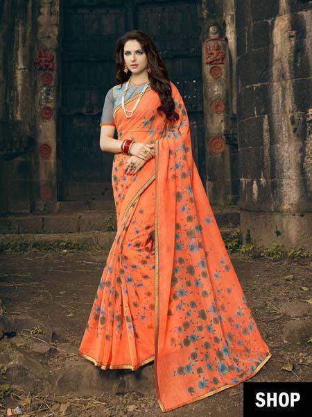 Printed Orange Saree