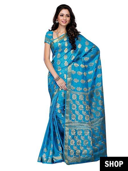 Sky blue Kanjeevaram saree